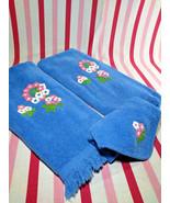 Darling Vintage 3pc Cannon Flower Power Powder Room Fringe Edge Cotton T... - $14.00