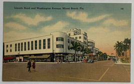 VTG Old Linen Era Postcard Lincoln Road and Washington Ave. Miami Beach,... - $11.71