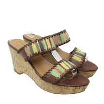 FRANCO SARTO Gasta Womens Size 7.5 Brown Multicolor Slip-on Wedge Sandals - $19.79