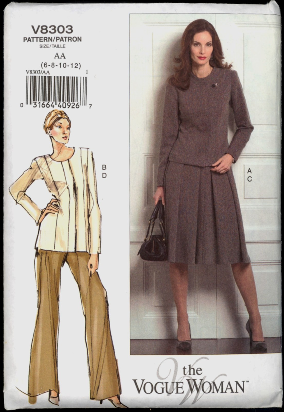 Primary image for Uncut Size 6 8 10 12 Fitted Princess Seam Jacket Skirt Pants Vogue 8303 Pattern