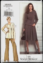 Uncut Size 6 8 10 12 Fitted Princess Seam Jacket Skirt Pants Vogue 8303 ... - $6.99
