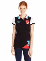 New US Polo Assn Juniors Color Block Pocket Pique Polo Shirt Black Size Large