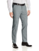 Boltini Italy Men's Flat Front Slim Fit Trousers Grey Dress Pants w/ Defect