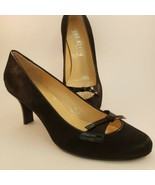 Anne Klein Pony Hair Heels Womens Sz 9.5 M Black Patent Bow Mid Pumps Italy - $50.47