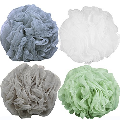 Goworth Large Bath Shower Sponge Pouf Loofahs 4 Packs 60g Each Eco-friendly Exfo