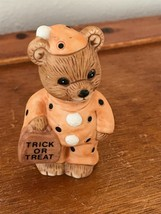 Estate Small Homco Cute Brown Teddy Bear in Orange w Black Polka Dot Hal... - $9.49