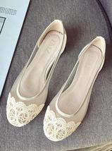 Champagne women shoes for bride,women shoes for walking,work,formal flat... - $38.00