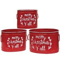 Merry Christmas Y'all Red Metal Buckets Farmhouse Christmas Planter Gif... - £54.53 GBP