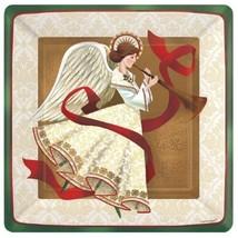 "Holiday Spirit Angel Christmas 7"" Square Metallic 8 Dessert Plates - £3.48 GBP"