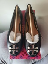 Tory Burch Claire Ballet Flats in Black Pebbled Leather Silver Logo, Sz 6 NIB! - $173.24