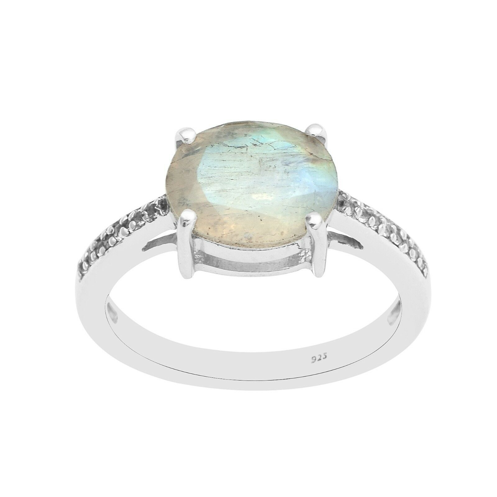 Labradorite Stackable 925 Silver Solitaire with Accents Women Wedding Band Ring