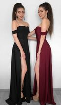 Sheath Off-the-Shoulder Black Elastic Satin Prom Dress with Split Ball Gowns - $172.00