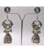 Silver Oxidized Earrings Jhumka Jhumki Imitation Jewelry Long Drop Dangl... - $5.93