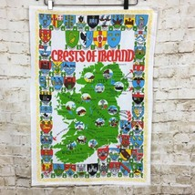 "Crests of Ireland Linen Dish Towel Wall Hanging 18"" x 28"" Made in Ireland - $12.65"