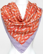 Ralph Lauren Collection Purple Label Scarf Silk Square Orange Purple Ivory - $142.03