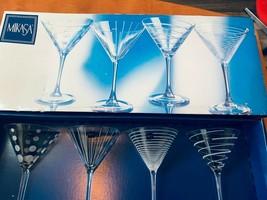 Mikasa Cheers Martini 10 OZ Glasses Set of 4 Unused Original box Vintage... - $35.99