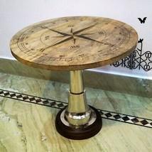 "Nautical wooden compass coffee 24"" table metal home decorative restauran... - $247.50"