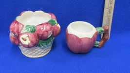 New London Ceramic Pottery Coffee Mug & Basket Bowl Apple Shape & Design... - $10.88