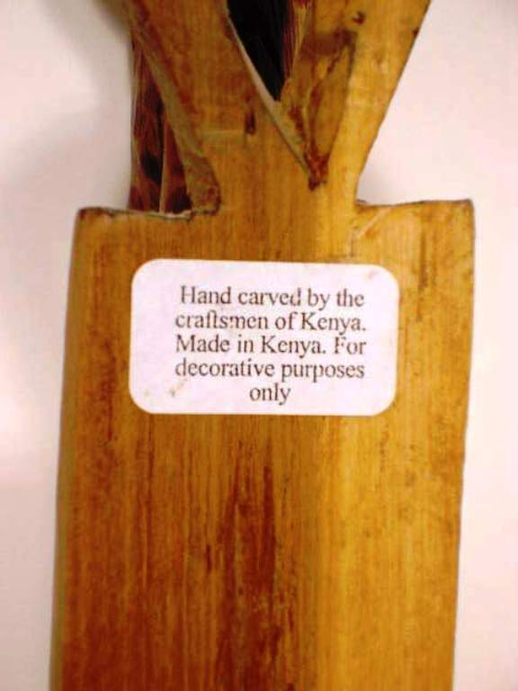 Giraffe Solid Wooden Hand Carved Wall Hanging Craftsmen of Kenya 12 inches Tall