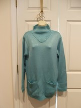new/pkg NEWPORT NEWS PERSIAN BLUE funnel neck long leggings sweater  medium - $18.80