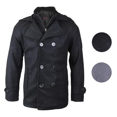 Kebo Men's Stylish Modern Button Up Double Breasted Multi Pocket Peacoat Jacket