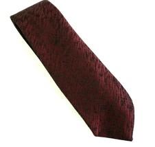 "Vintage Van Heusen Polyester 3"" Necktie - Wine with Black Texture Pattern - $9.99"