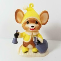 Vintage Mouse Christmas Ornament Hard Plastic Hong Kong Bell Yellow Put ... - $9.99