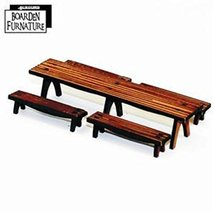 4Ground 28mm Furniture: Long Trestle Table x1, Long Benches x4 (Light Wood)