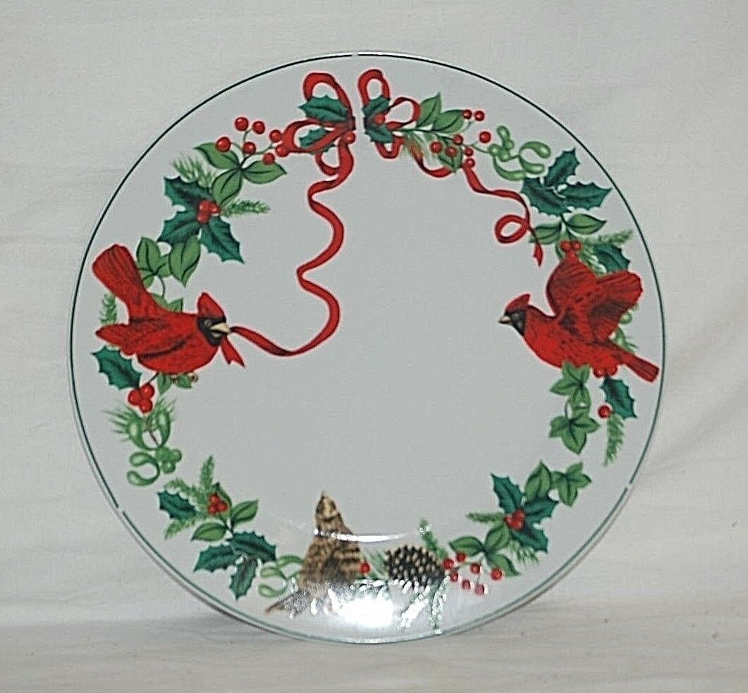 "Primary image for Cardinal Christmas by Royal Norfolk 10"" Dinner Plate Red Ribbon Holly Green Band"