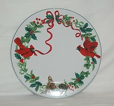 "Cardinal Christmas by Royal Norfolk 10"" Dinner Plate Red Ribbon Holly Green Band - $19.79"