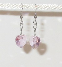 Faceted Glass Pink Heart with Silver Wire Wrap Dangle Earrings Wire Wrapped HC - $11.88