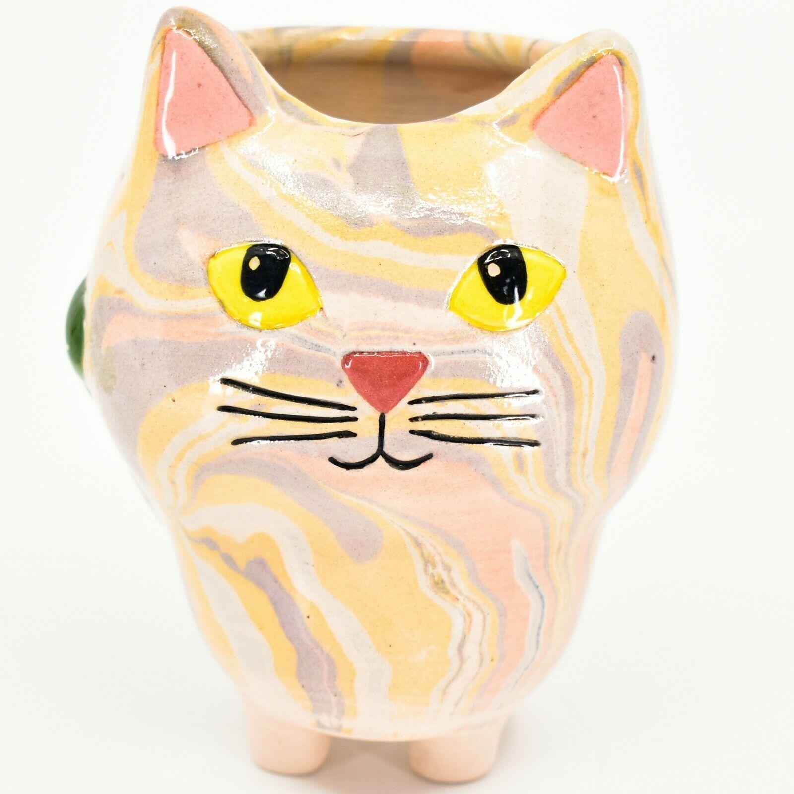 Handmade Ceramic Swirl Small Cactus Succulent Mini Plant Cat Shaped Planter Pot
