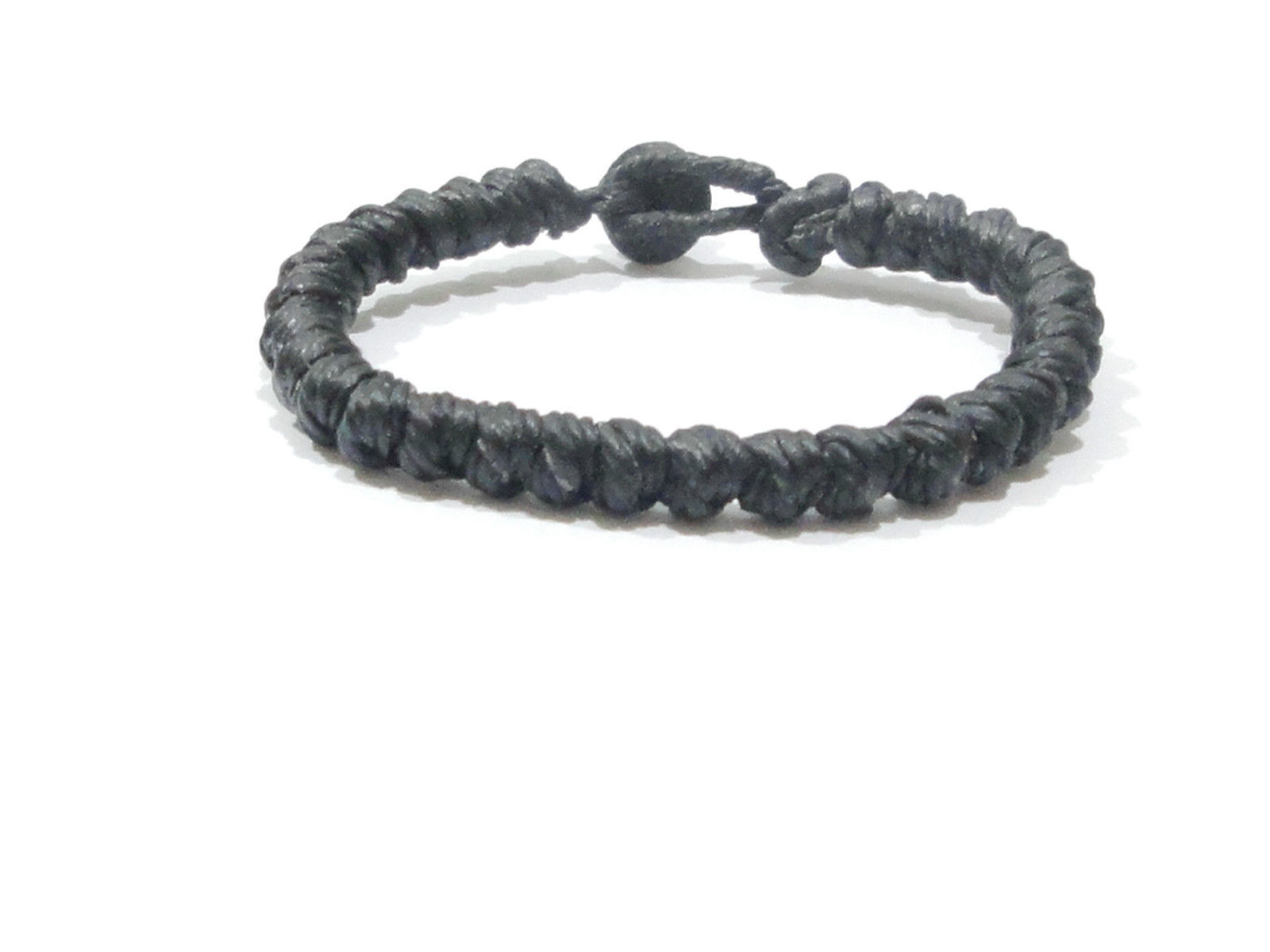 Fair Trade Slim Black Cotton Knotted Thai Wristband Handcrafted Bracelet