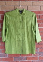 Jones New York Green Linen Jacket Size M 3/4 Sleeves - $18.99