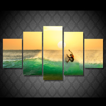 5 Pcs Seascape Surfing Sunset Home Decor Wall Picture Printed Canvas Pai... - $45.99+