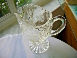 Hand Cut Clear Crystal Table Creamer Flower Design - $22.76