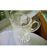 Hand Cut Clear Crystal Table Creamer Flower Design - $22.76