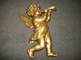 SYROCO Cherub with Horn Wall Hanging # 4775A Gold Tone Vintage '60s - $22.00
