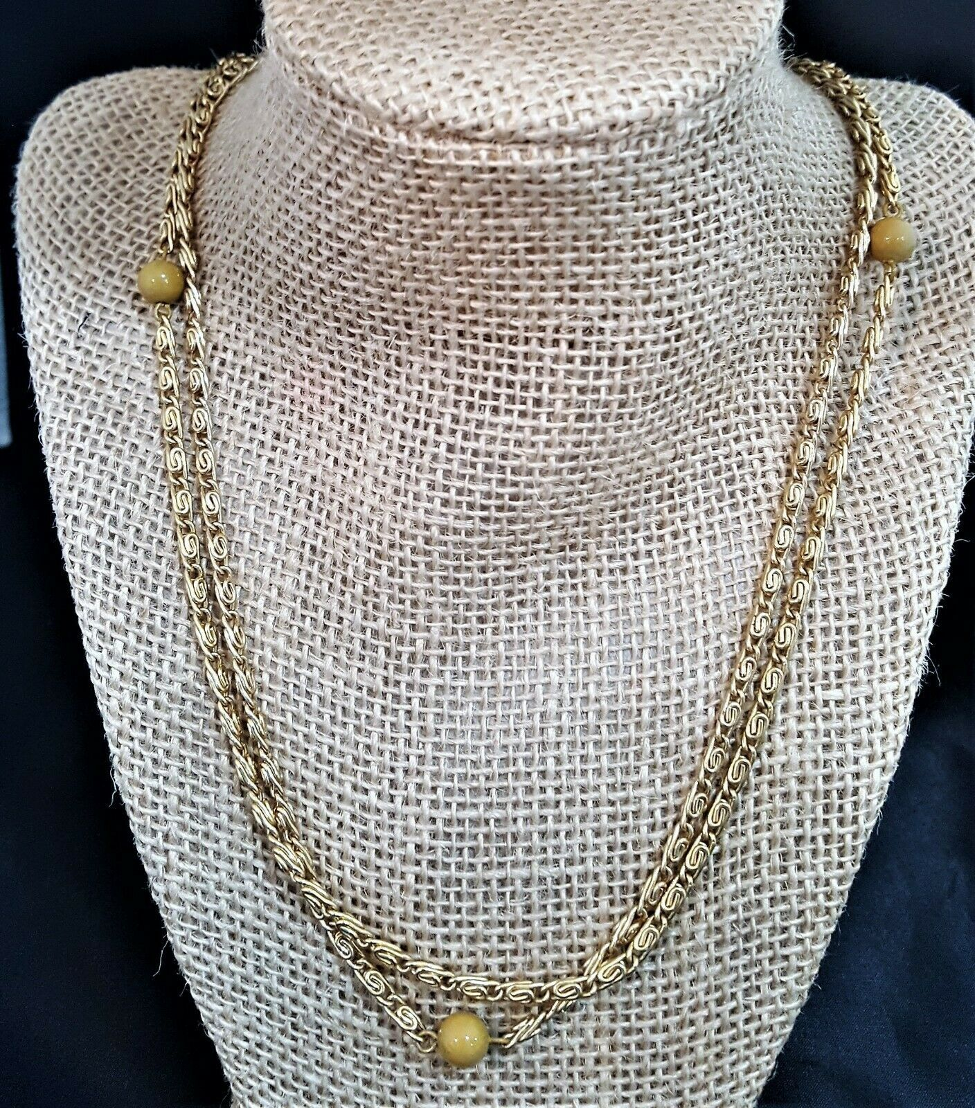 Vintage Long Gold Plated Chain Necklace with Beige Beads