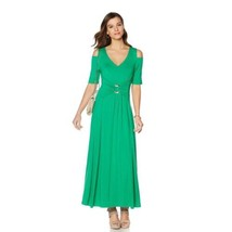 LIZ LANGE Womens Cold Shoulder Short Sleeve Ultimate Maxi Dress GREEN Si... - $932,04 MXN