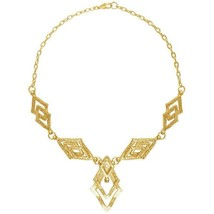 """Karine Sultan Alexandra Art Deco Collar Necklace 24k Gold-plate 19""""L French - $79.95"""