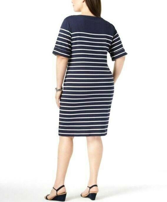 Karen Scott Plus Size 2X,3X Dress Floral Embroidered Striped Shift Dress NEW $54 image 2