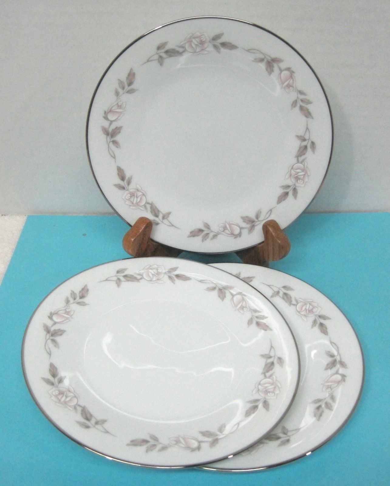 Primary image for Noritake Lillian #6662 1965 - 1971 Pink White Rose Bread Butter Cake Plate 3PC