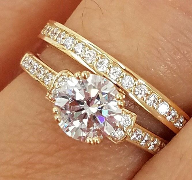 Primary image for 925 Silver 14k Yellow Gold Plated Round Cut Sim Diamond Bridal Wedding Ring Set
