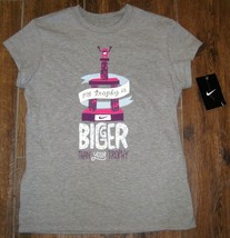 Nike My Trophy Is Bigger Than Your Graphic Tee T Shirt Top Youth Girls L Grey - $12.16