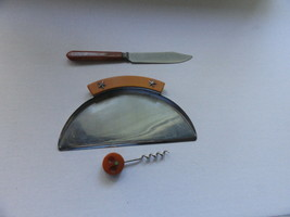 3 pc of Butterscotch Bakelite Utensils Corkscrew Knife Crumb Tray - $19.99
