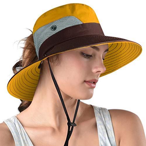 FURTALK Safari Sun Hats for Women Wide Brim UV UPF Ponytail Outdoor Hunting Summ