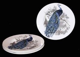 4 Colorful PEACOCK Carly Dodsley Salad Plates Made in England NEW HTF - $46.99