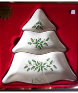 "New LENOX Holiday Christmas Tree 9"" Divided Server Serving Dish Holly & ... - $21.03"