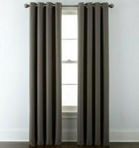 (1) JCPenney JCP Liz Claiborne Quinn Basketweave TAUPE Grommet Curtain 50 x 95 - $51.44